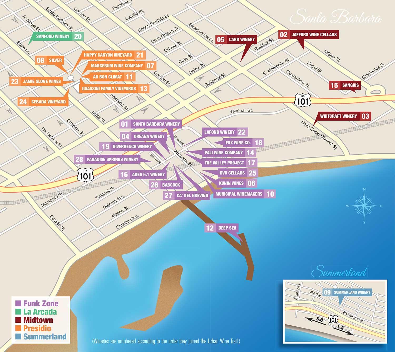 Santa Barbara California Map.Santa Barbara Urban Wine Trail Map Santa Barbara Urban Wine Trail