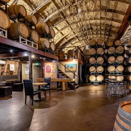 inside the Carr Winery Barrel Room