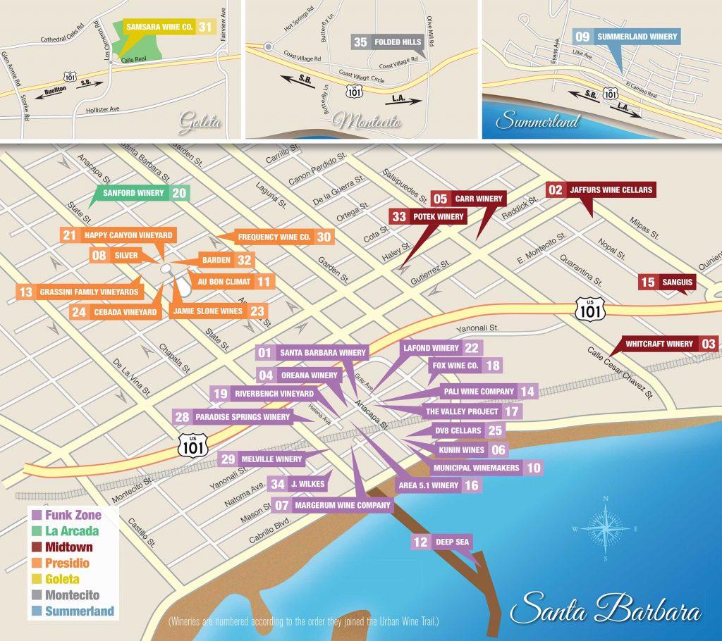 Map of wineries in Santa Barbara, Goleta, Montecito, and Summerland California