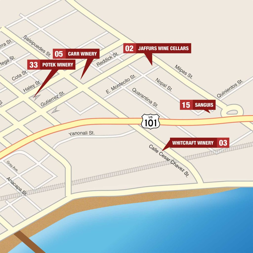 Map of Downtown Santa Barbara with pins for each winery in the Midtown Neighborhood Urban Wine Trail