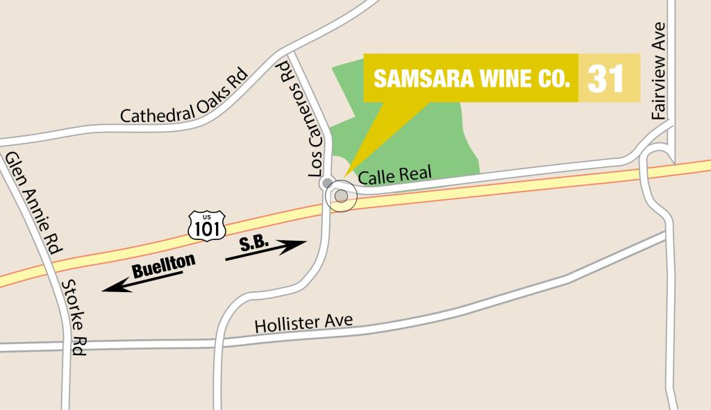 SAMsARA Winery on a map of Goleta Wineries