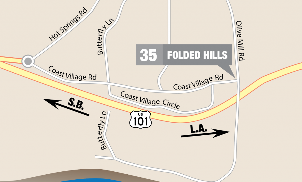 Folded Hills Winery on a map of downtown Montecito