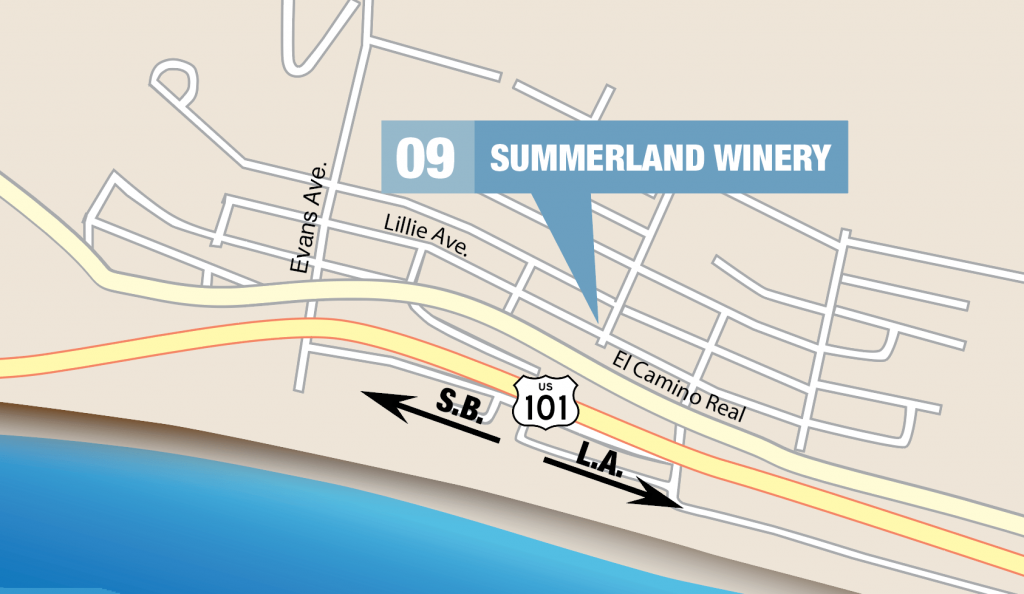 Summerland Winery on a map of downtown Summerland