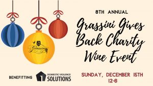 Flyer for Grassini Gives Back Charity Wine Event on Sunday, December 15th from 12-6pm