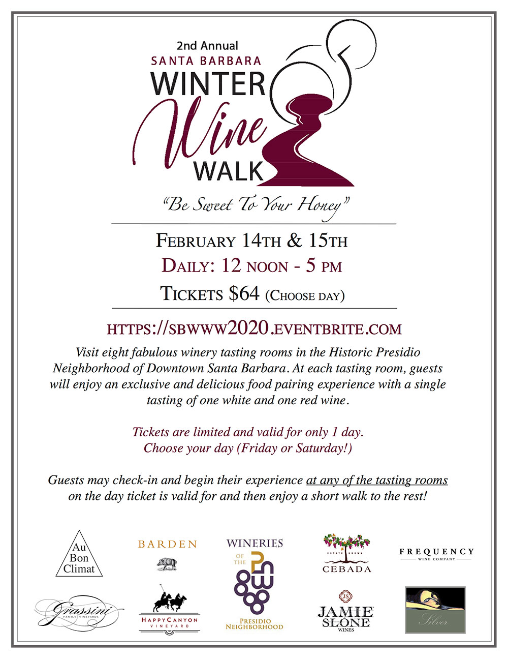 2020 Winter Wine Walk flyer
